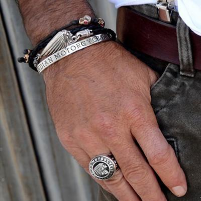 Indian Motorcycle Chief Mens Leather Bracelet By King Baby