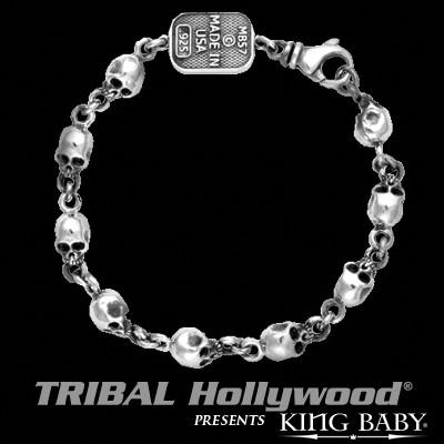 Skulls Mens Bracelet Thin Width in Silver by King Baby
