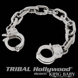 Handcuff Mens Bracelet Large in Silver by King Baby