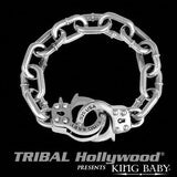 K42-5128 Bracelet for Men HANDCUFFS LARGE in Sterling Silver by King Baby Studio | Tribal Hollywood Alt View