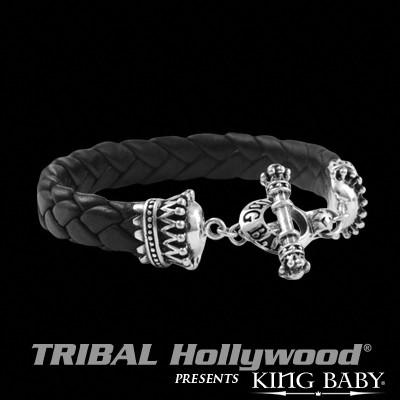 Mens Black Braided Bracelet CROWNS LEATHER BRACELET by King Baby | Tribal Hollywood