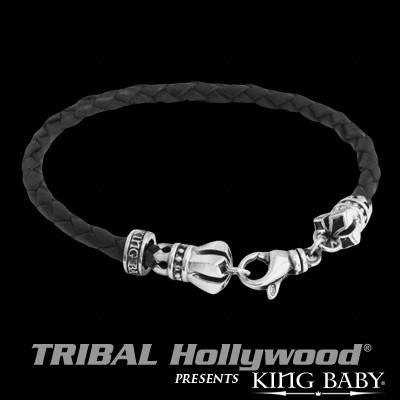 Braided Leather for Men MB CROSS THIN BRACELET Black by King Baby | Tribal Hollywood
