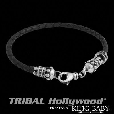Braided Black Leather for Men CROWNS THIN BRACELET by King Baby | Tribal Hollywood