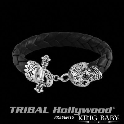 Black Braided Bracelet DAY OF THE DEAD LEATHER and Silver by King Baby | Tribal Hollywood