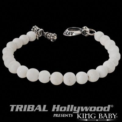 Beaded Bracelet for Men WHITE CORAL Beads by King Baby