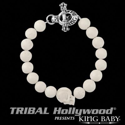 Bone Skull Mens White Coral Bead Bracelet by King Baby