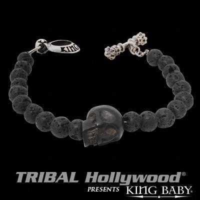 BLACK SKULL THIN Bracelet for Men with Lava Beads