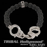 K42-5173 Bracelet for Men HANDCUFFS ONYX Bead by King Baby Studio | Tribal Hollywood