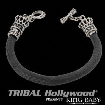Crowns Woven Leather Bracelet For Men by King Baby
