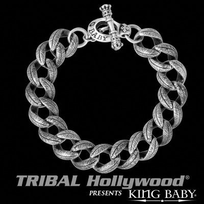 Mens Silver Curb Bracelet FEATHER LINK SMALL by King Baby