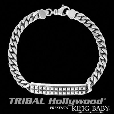 Pyramid Stud ID Silver Mens Bracelet by King Baby