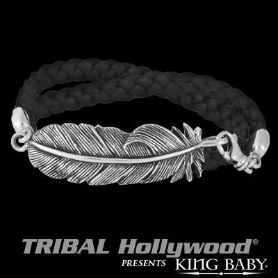 Mens Silver and Leather Double Wrap Bracelet RAVEN'S FEATHER