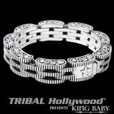Rotor Chain Coin Edge Silver Mens Bracelet by King Baby