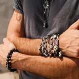 HANGMAN NOOSE Knotted Skull Black Cord and Silver Mens Bracelet by King Baby