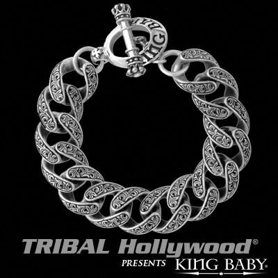 Old West Engraved Scrollwork Mens Link Bracelet by King Baby