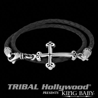 Mens Cross Bracelet DOUBLE WRAP CROSS Braided Leather and Silver by King Baby | Tribal Hollywood