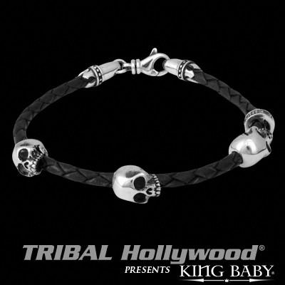 Black Leather Braided Mens Bracelet TRIPLE HAMLET SKULL by King Baby | Tribal Hollywood