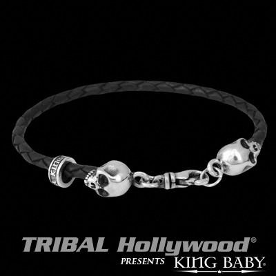 Braided Mens Bracelet DOUBLE HAMLET SKULL in Black Leather by King Baby | Tribal Hollywood