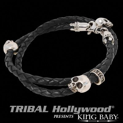 Skull Black Leather Mens Silver Bracelet Double Wrap