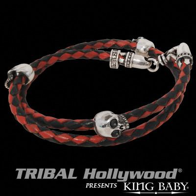 Double Wrap Skull Bracelet Mens Red and Black Leather