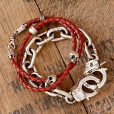 Double Wrap Skull Bracelet Mens Red and Black Leather Lifestyle 1