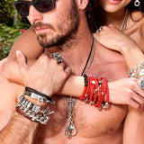 Bracelet for Men DOUBLE WRAP SKULL RED AND BLACK Leather and Silver Lifestyle