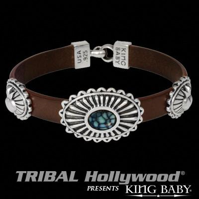 Spotted Turquoise Concho Mens Leather Bracelet by King Baby