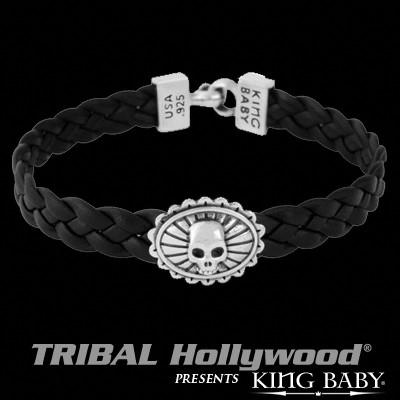 Silver Skull Concho Mens Black Leather Bracelet by King Baby