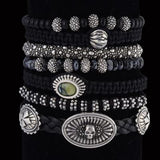 King Baby Bracelets Silver Bead and Leather Bracelets 4