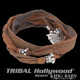 Silver Crowns MB Cross Silk Mens Bracelet by King Baby