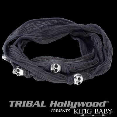 Silver Skulls Charcoal Silk Mens Bracelet by King Baby