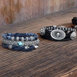 Silver Skulls Charcoal Silk Mens Bracelet by King Baby Lifestyle 1