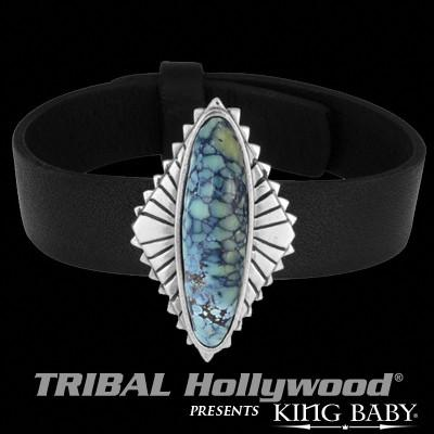 Spotted Turquoise Mens Black Leather Bracelet by King Baby