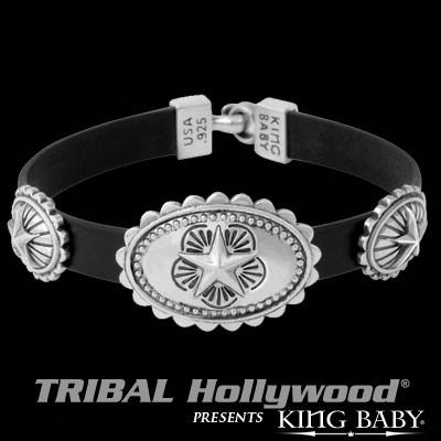 Silver Star Conchos Leather Mens Bracelet by King Baby