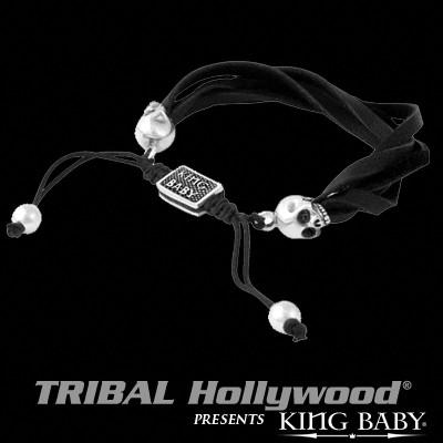 Silver Skulls Black Leather Mens Bracelet by King Baby