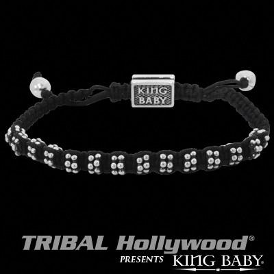 Silver Rivets Black Woven Macrame Mens Bracelet by King Baby