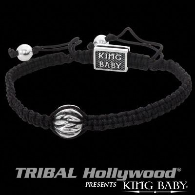 Silver Feather Bead Black Macrame Mens Bracelet by King Baby