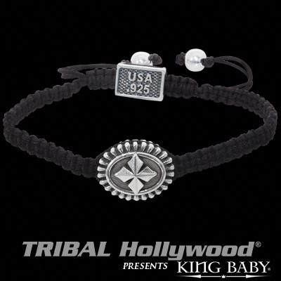 Black Woven Cord Cross Concho Mens Bracelet by King Baby