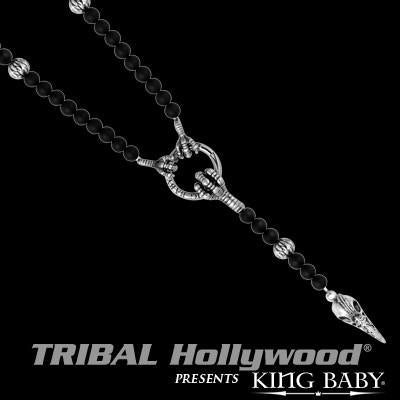Skull and Claw Mens Necklace THE RAVEN ROSARY by King Baby