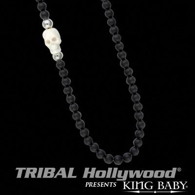 Mens King Baby Necklace White Bone Skull and Onyx Bead