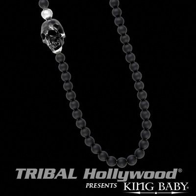 Skull Bead Necklace For Men in Black Jet and Onyx