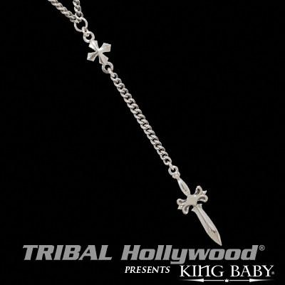 Rosary for Men MB CROSS AND SWORD in Sterling Silver by King Baby | Tribal Hollywood