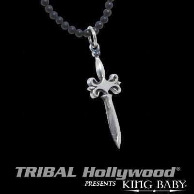 Mens Necklace SILVER DAGGER Sterling Pendant with Black Onyx Ball Chain | Tribal Hollywood