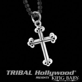 Mens Silver Necklace TRADITIONAL CROSS with Black Onyx Ball Chain | Tribal Hollywood