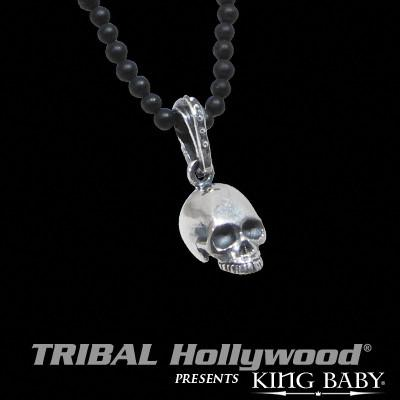 Mens Pendant Necklace Silver HAMLET SKULL with Black Onyx Ball Chain  | Tribal Hollywood