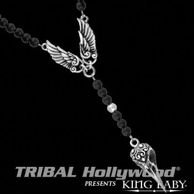 K56-5460 Silver Winged Necklace for Men RAVEN SKULL ROSARY by King Baby	| Tribal Hollywood