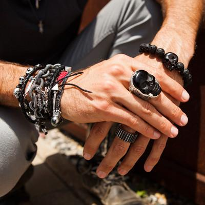 Mens Black And Silver Ring Jet Classic Skull Ring By King