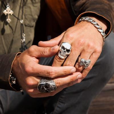 Jet baroque skull black and silver king baby mens ring for King baby jewelry sale