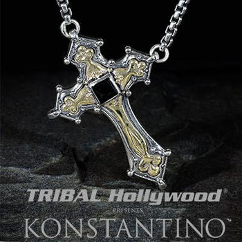 Konstantino Bronze Greek Bearers Cross Mens Necklace Pendant