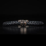 William Henry Mokume Gane Metal Leather Mens Bracelet 1